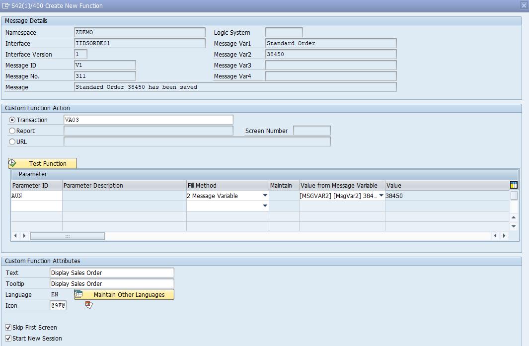 Custom Functions in SAP AIF creation directly in Error Handling View
