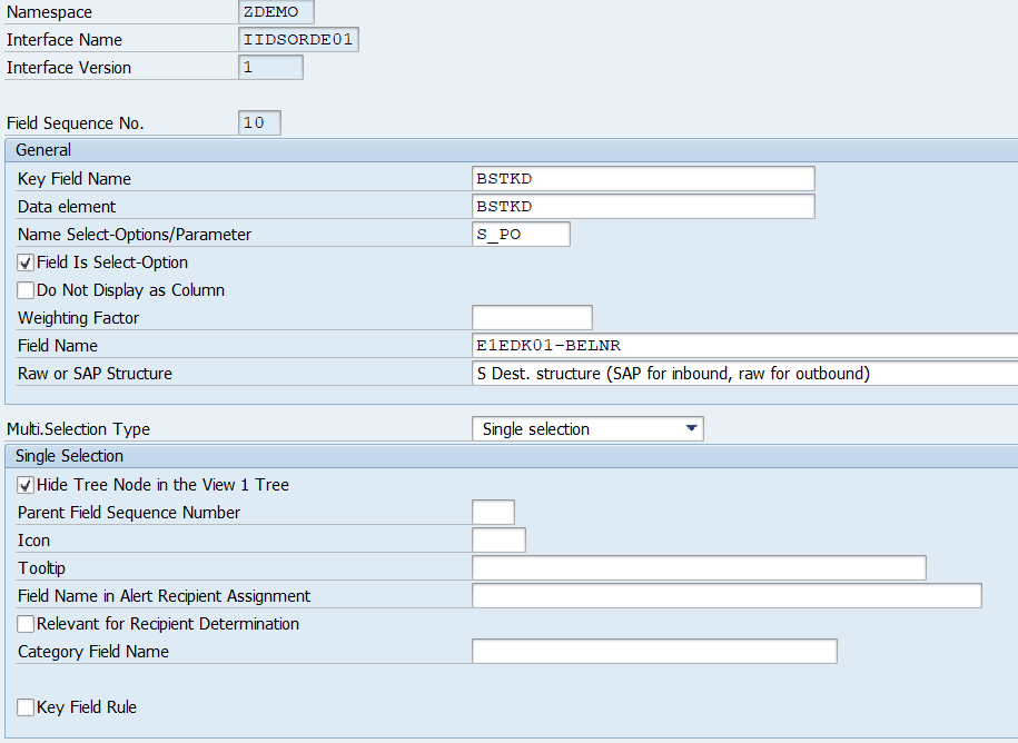 SAP AIF - Interface Specific entries necessary for Single Index Table