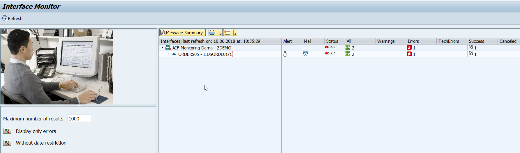 Set up interface in SAP AIF Interface Monitor ( /aif/ifmon ) - SAP